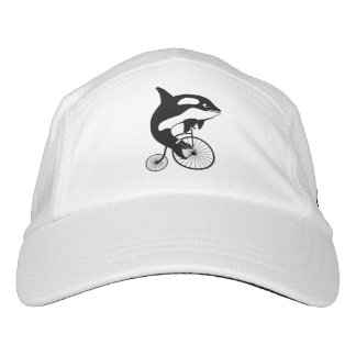 Killer Whale Riding a Vintage Penny Farthing Bike Headsweats Hat