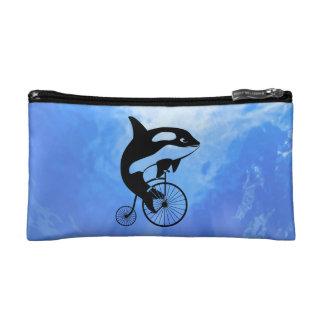 Killer Whale Riding Penny Farthing Bike Makeup Bag