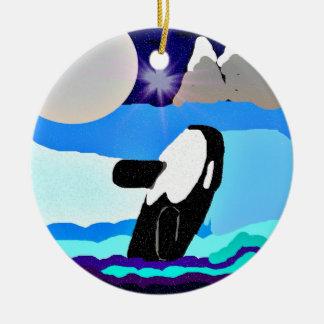 killer whale silver moon mountains  stars ornament