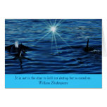 Killer Whale Starlight Sea inspirational greeting  Stationery Note Card