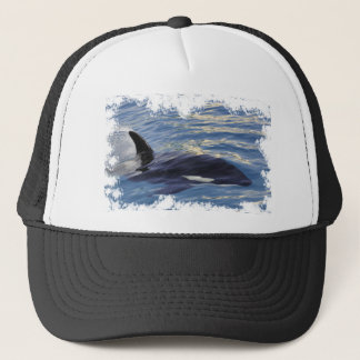 Killer whale swimming fast trucker hat