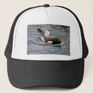 Killer whale swimming trucker hat