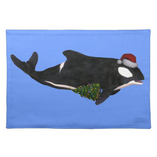 Killer Whale With Santa Claus Hat Cloth Place Mat