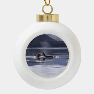 Killer Whales Ceramic Ball Christmas Ornament