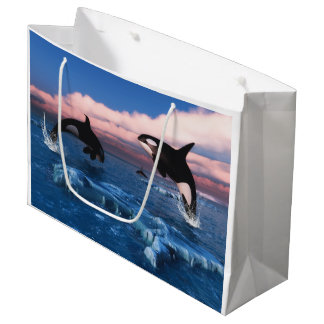 Killer Whales In The Arctic Ocean Large Gift Bag