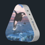 """Killer Whales In The Arctic Ocean Speaker<br><div class=""""desc"""">A herd of orca killer whales swimming in the Arctic Ocean. Icebergs floating in the sea and by the sunrise shimmering the clouds pink. Customize to personalized the gift product!</div>"""