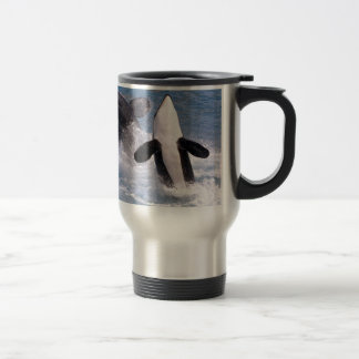 Killer whales jumping out of water travel mug