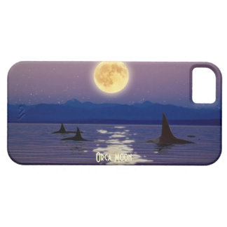 Killer Whales, Orca & Moon Art Cell Phone Case