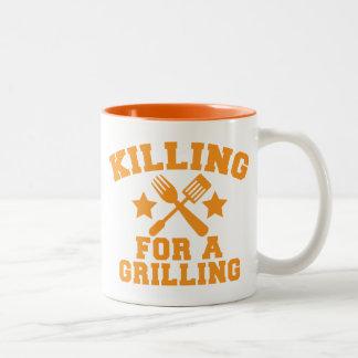 KILLING FOR A GRILLING BBQ design Two-Tone Coffee Mug
