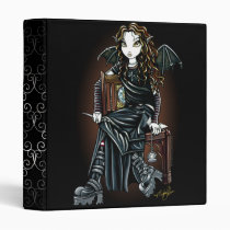 killing, time, school, girl, fairy, gothic, emo, fantasy, fae, faerie, faery, fairies, pixie, boots, leather, pocket, watch, art, myka, jelina, acrylic, Binder with custom graphic design
