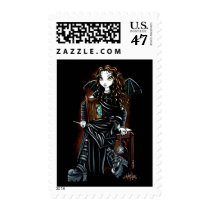 gothic, school, fairy, faery, faerie, emo, fantasy, books, leather, fae, art, killing, time, myka, jelina, characters, Stamp with custom graphic design