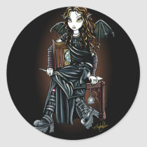 killing, time, school, girl, fairy, gothic, emo, fantasy, fae, faerie, faery, fairies, pixie, boots, leather, pocket, watch, art, myka, jelina, acrylic, Sticker with custom graphic design