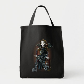 """""""Killing Time"""" Gothic School Girl Fairy Tote Grocery Tote Bag"""