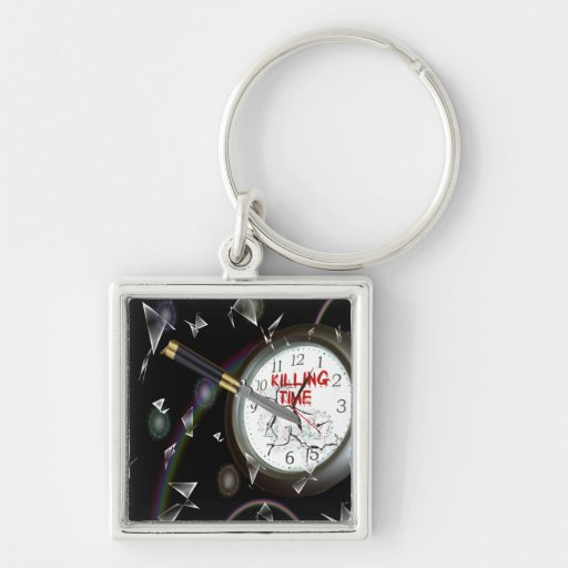 Killing Time Silver-Colored Square Keychain