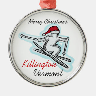 Killington Vermont santa hat skier ornament