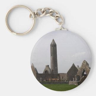 Kilmacduagh Round Tower In The Burren Ireland Key Chains