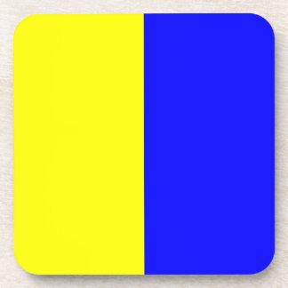 Kilo blue and yellow beverage coaster