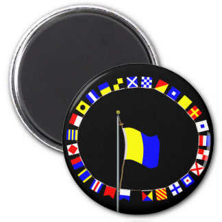 "Kilo Nautical Signal Flag ""I wish to communicate"" 2 Inch Round Magnet"