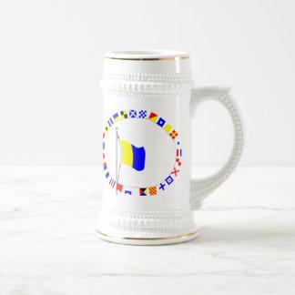 "Kilo Nautical Signal Flag ""I wish to communicate"" Beer Stein"