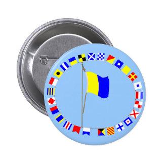 "Kilo Nautical Signal Flag ""I wish to communicate"" Pinback Button"