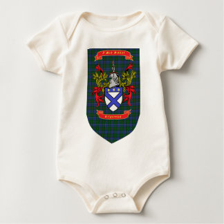 Kilpatrick crest on Colquhoun Blue-Green Tartan Baby Bodysuit