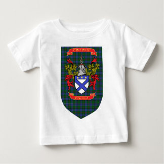 Kilpatrick crest on Colquhoun Blue-Green Tartan Baby T-Shirt