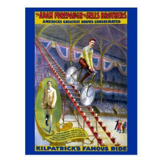 Kilpatricks Famous Ride Vintage Circus Poster Postcard