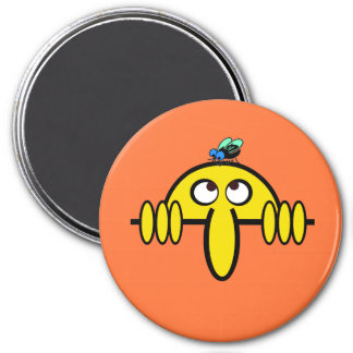 Kilroy Fly on Head 3 Inch Round Magnet
