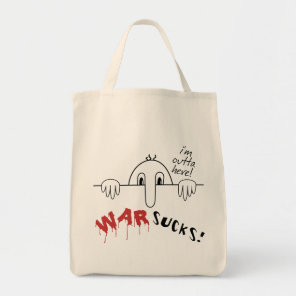 Kilroy Was Here Says War Sucks Outta Here Tote Bag