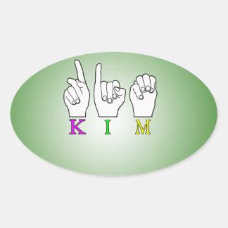 KIM FINGERSPELLED NAME ASL OVAL STICKER