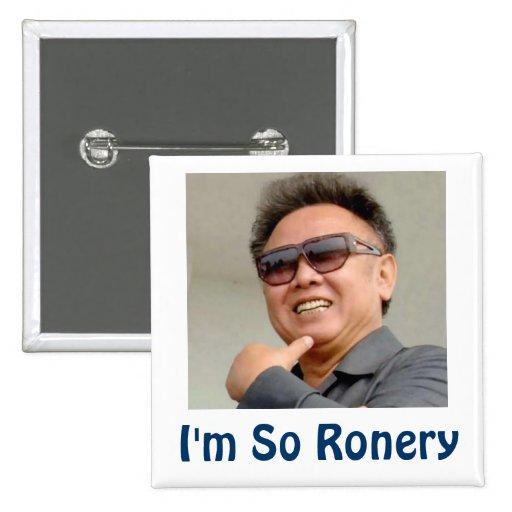 Kim Jong-il 2 Inch Square Button