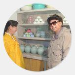 Kim Jong-il, Corea del Norte Pegatina Redonda