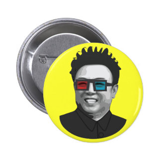 Kim Jong-il - Corea del Norte Pin Redondo 5 Cm