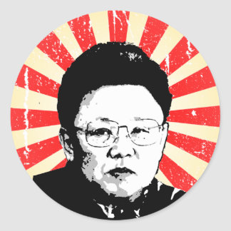Kim Jong Il Pegatinas Redondas