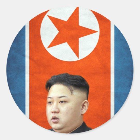 Kim Jong-un an Korean Flag Classic Round Sticker