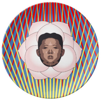 Kim Jong Un on Magnolia with Red and Yellow Rays Plate