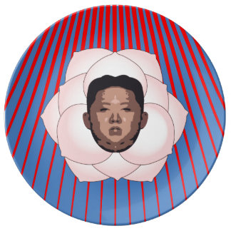 Kim Jong Un on Magnolia with Red Rays Porcelain Plate