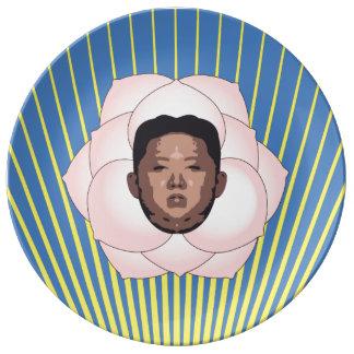 Kim Jong Un on Magnolia with Yellow Rays Plate