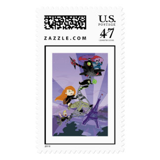 Kim Possible climbing helicopter eiffel tower Postage