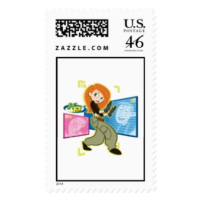 """Kim Possible Rufus Ron """"KP"""" Disney stamps"""
