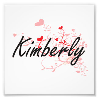 Kimberly Artistic Name Design with Hearts Photo Print
