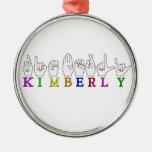 KIMBERLY FINGERSPELLED ASL CONOCIDO ADORNO NAVIDEÑO REDONDO DE METAL