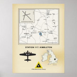 Kimbleton Airfield, England: Map, 379th Bomb Group Poster
