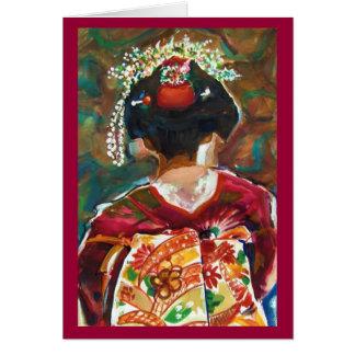 "Kimoku ""GEISHA GIRL"" Original Watercolor Greeting Card"