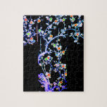 KIMONO BLUE - SPRING BLOSSOMS- ASIAN FLORAL ROBES PUZZLE