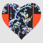 KIMONO BLUE - SPRING BLOSSOMS- ASIAN FLORAL HEART STICKERS