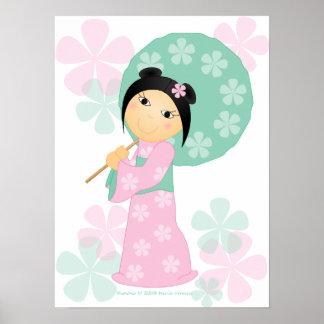 Kimono de la niña póster
