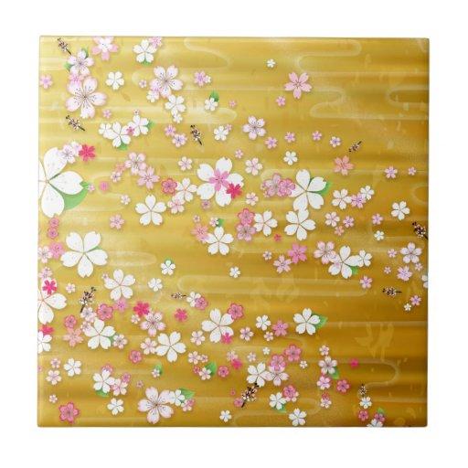 Kimono de Sakura del oro Azulejo Cuadrado Pequeño