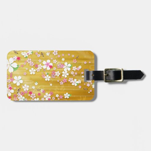 Kimono de Sakura del oro Etiquetas Maleta