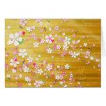 Kimono de Sakura del oro: Tarjeta de felicitación